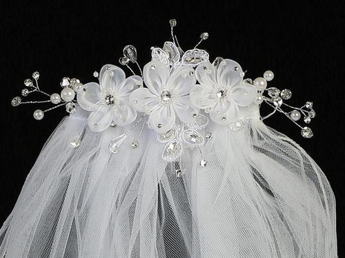 T-301 First Communion Headpiece Flower Comb with Veil