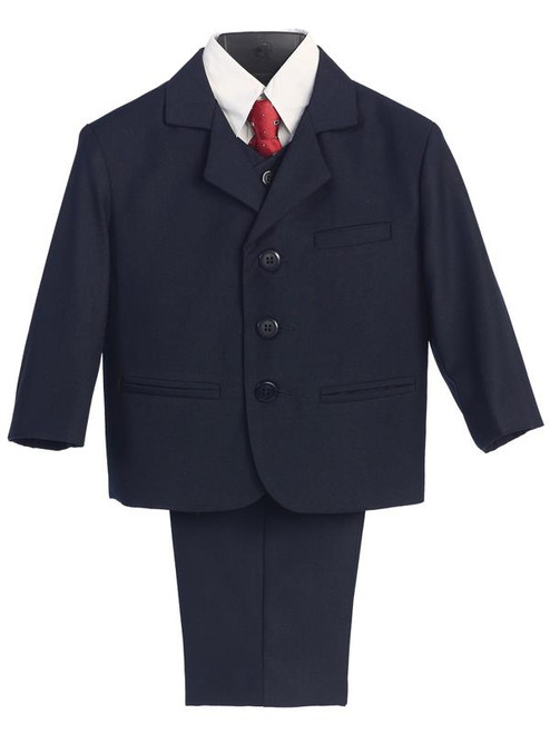 L3710 Navy  Boys First Communion 5 PIece Suit