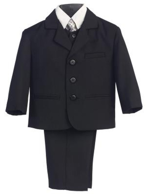 L3710 Black Boys 5 Piece First Communion Suit