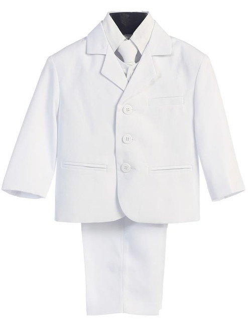 L3710-White Boys 5 piece First Communion Suit