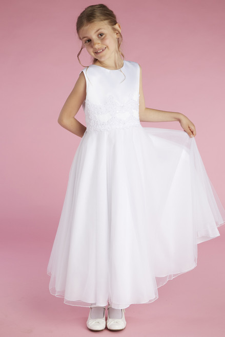 LM21062 Lauren Marie First Communion Dress A line w Lace Waist