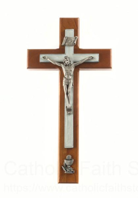 Wall Crucifix  10 inch cherry wood First Communion
