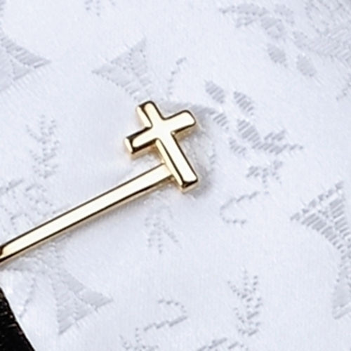 Gold Plated TIE BAR W/CROSS