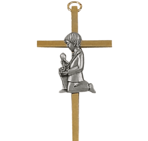 "Cross,  4"" Gold Plated with Pewter First Communion Boy Figure"