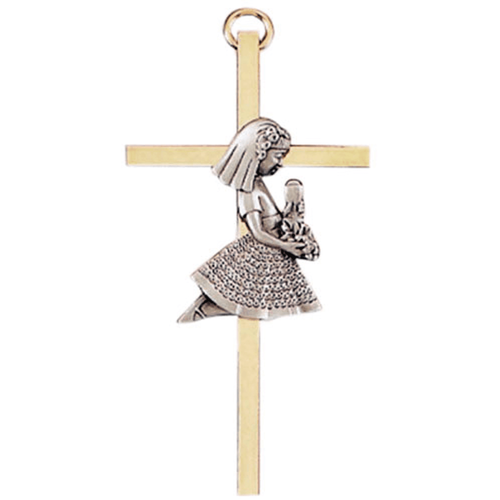 """Cross, 4 """" Gold Plated with Pewter First Communion Girl Figure"""