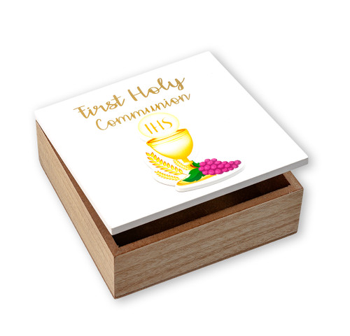 First Communion White Keepsake Wooden Box with Chalice and Grapes