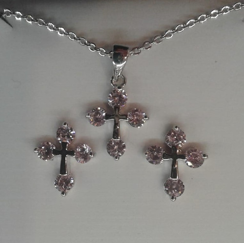 Crystal (Pink) Pendant and Earring Set