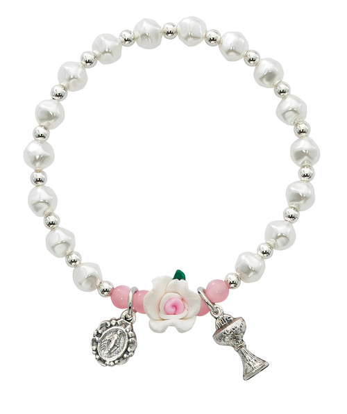 Stretch Pink and White Flower Bracelet