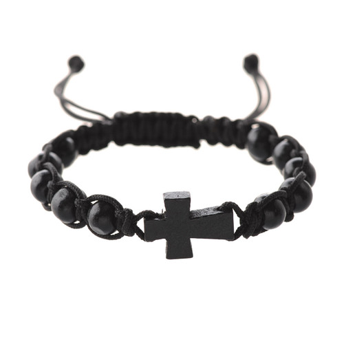 Bracelet Black Corded Cross BR689