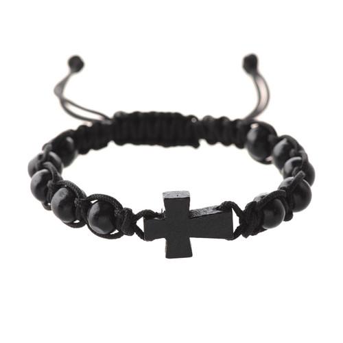 Bracelet Black Corded Cross BR689