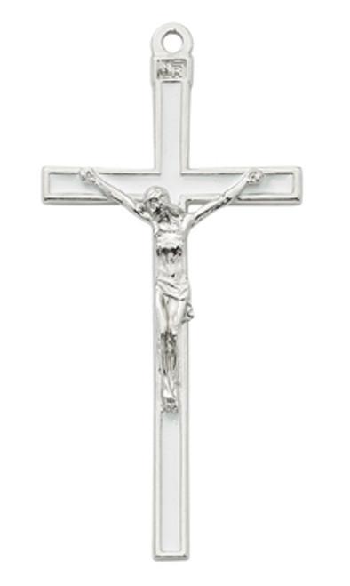 "Wall Crucifix - 5"" Silver White Enamel Cross"