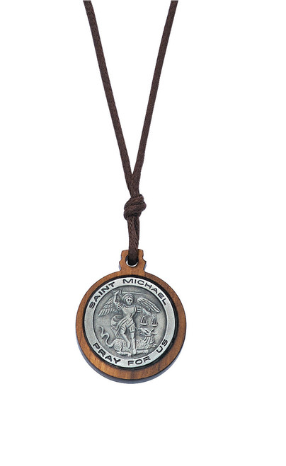 Olive Wood Pewter St Michael on Cord