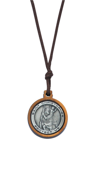 Olive Wood Pewter St Christopher on Cord