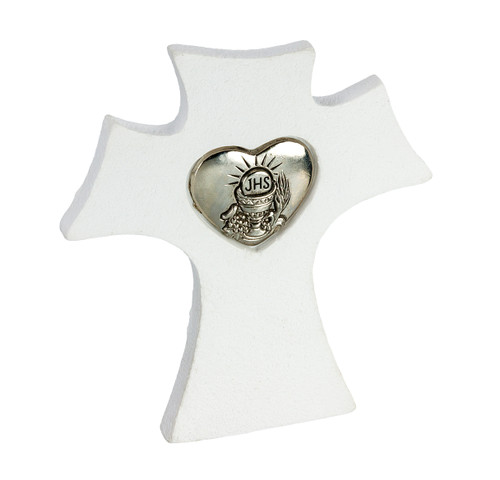 Standing Cross  White Resin with Silver Heart  Insert