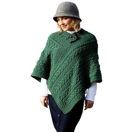 Fisherman Green Wool Knit Poncho
