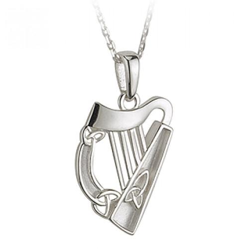 Celtic Harp  Sterling Silver Pendant