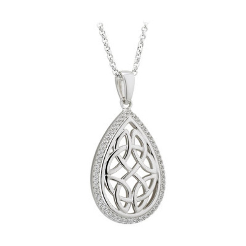 Oval Celtic Knot Sterling Silver Pendant with Cubic Zirconia