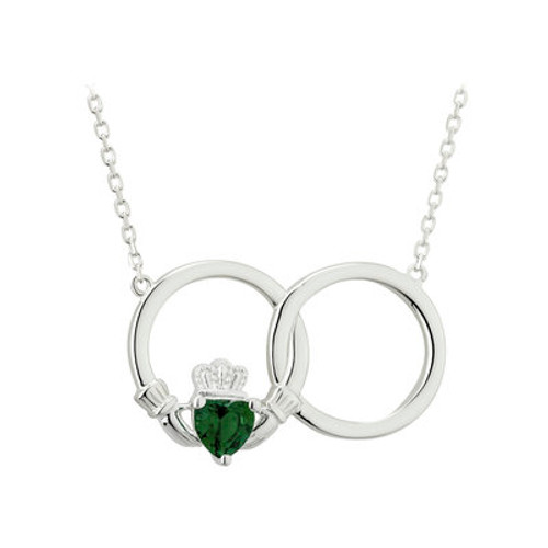 Claddagh Circle Sterling Silver Necklace with Green Crystal