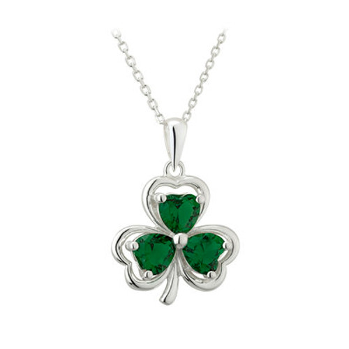 Shamrock Sterling Silver Pendant with Green Crystal