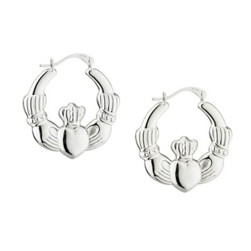 Claddagh Medium Creole Sterling Silver Earrings