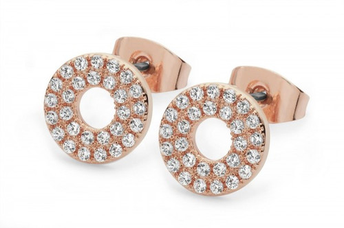 Bailey and Brooke Pave Triple Band Rose Gold Moon Earrings