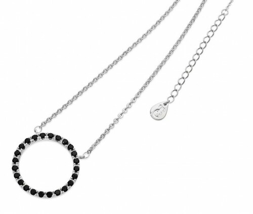 Bailey and Brooke Black Diamond Moon Pendant Silver