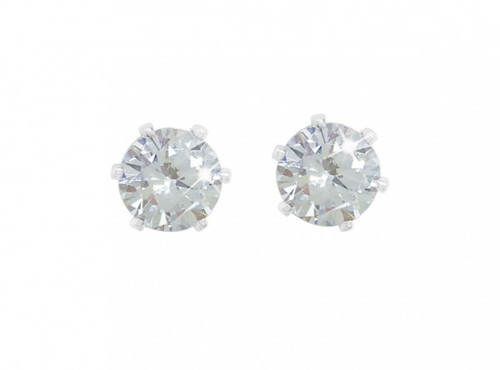Bailey and Brooke Silver Stud Earrings Clear Stone 4mm