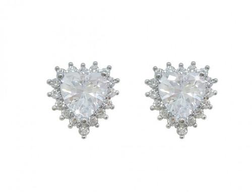 Bailey and Brooke Silver Heart Earrings