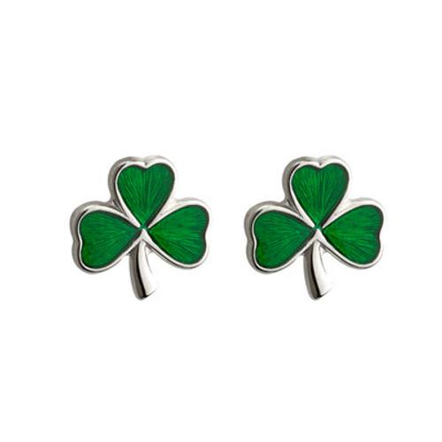 Shamrock Green Enamel Sterling Silver  Small Stud Earrings