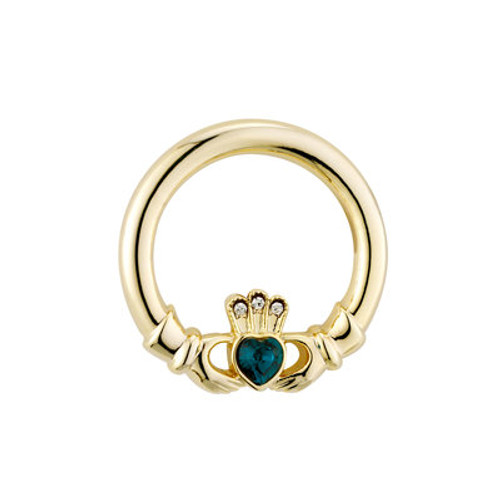 Gold Plated Green Crystal Heart Claddagh Brooch