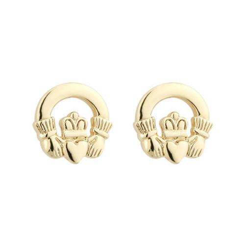 Gold Plated Enamel Shamrock Stud Earrings