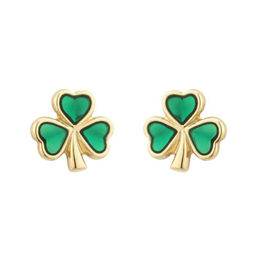 Gold Plated Enamel Shamrock Stud Earrings Large