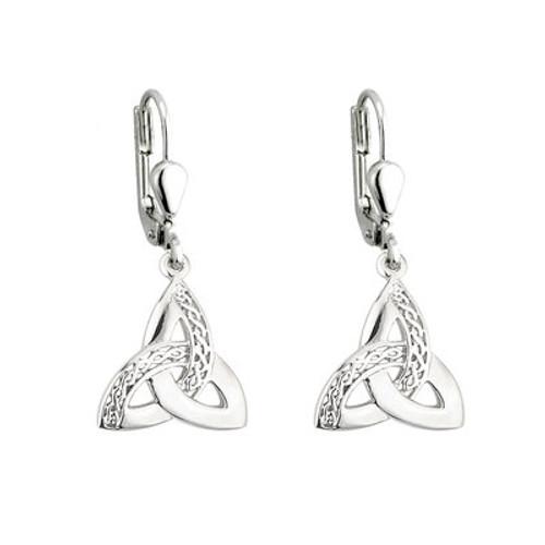 Trinity Celtic Knot Sterling Silver Drop Earrings