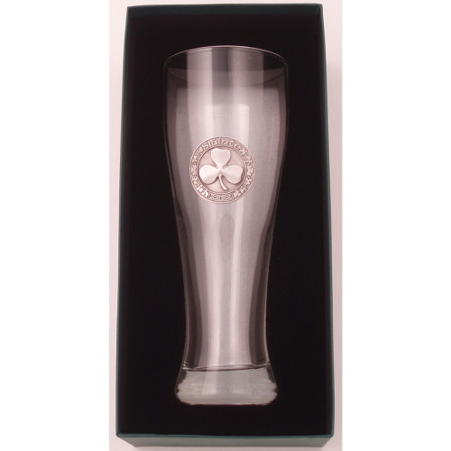 Beer Glass- 23 ounce Shamrock Pewter