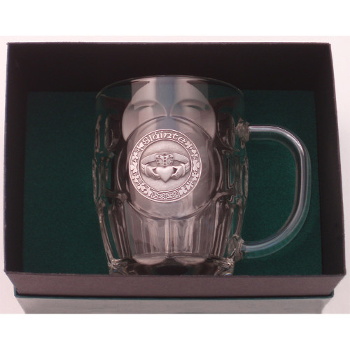 "Beer Mug -20 Oz. Britannia Mug / Pewter finish Claddagh ""Slainte"""