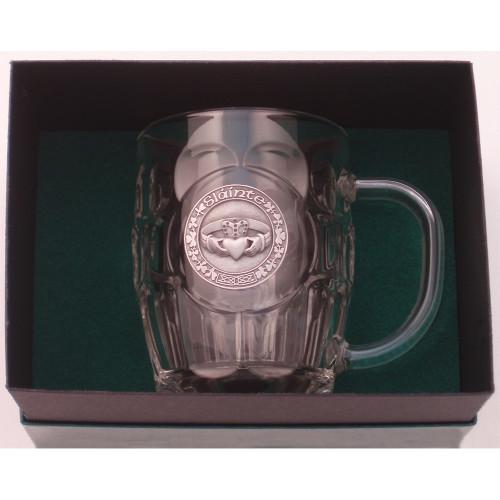 """Beer Mug -20 Oz. Britannia Mug / Pewter finish Claddagh """"Slainte"""""""