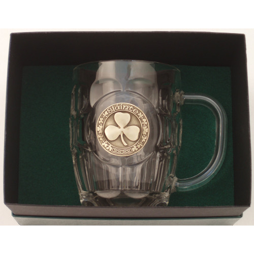 "Beer Mug -20 Oz. Britannia Mug / Pewter finish Shamrock ""Slainte"""