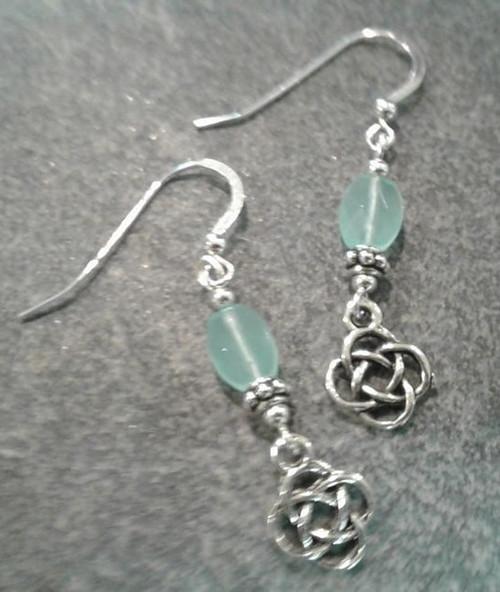 Cruthu Chaleedony Celtic Knot Drop Earrings