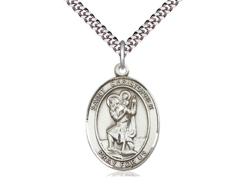 "Saint Christopher Medal Lg  with 24 "" Chain"