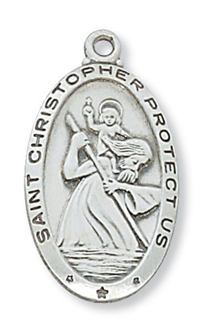 "St. Christopher Medal Lg Oval w 24"" Chain"