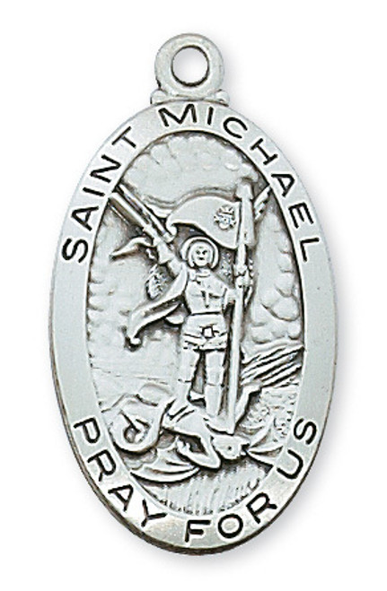 St. Michael the Archangel Medal Long Oval with 24 inch Chain