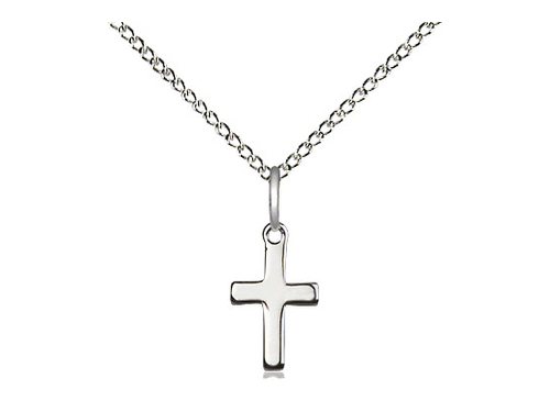 Sterling Silver Cross Pendant on a 18 inch Sterling Silver Light Curb Chain.