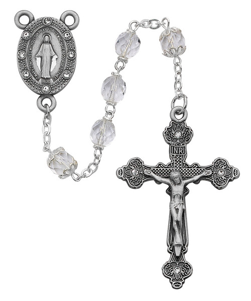Crystal Meraculous Medal Rosary 7mm