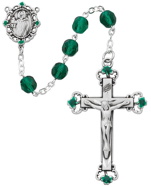 St. Patrick Deluxe Green Crystal Rosary