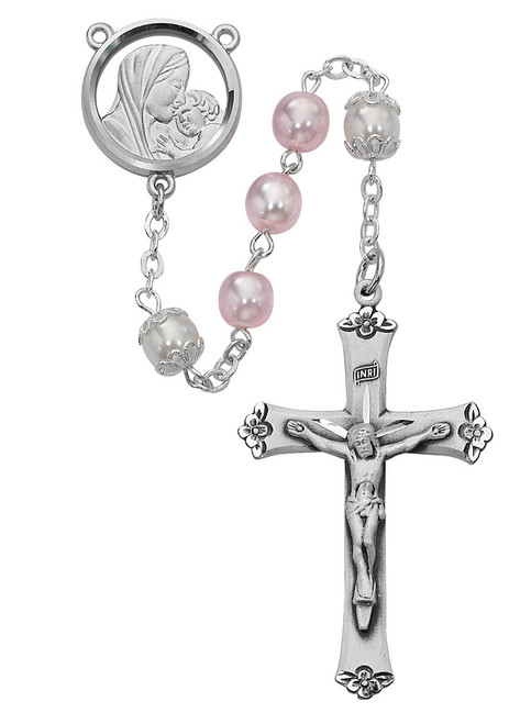 Blessed Mother and Child Pink Pearl Rosary
