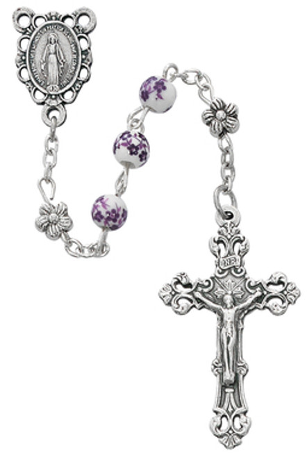 Purple Flower Glass Bead Rosary 6mm
