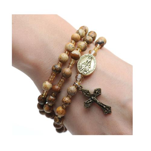 Rosary Bracelet Jasper Stone Twistable