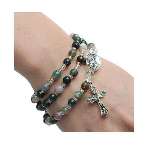 Rosary Bracelet India Agate Twistable