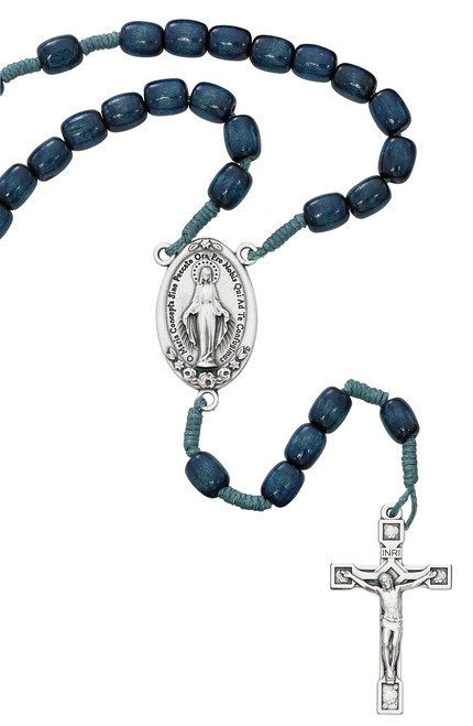 Miraculous Medal Rosary, Large Blue