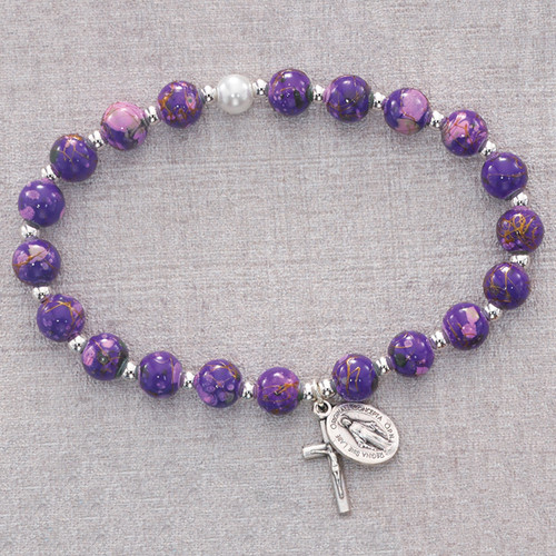 Rosary Bracelet Purple Venetian Stretch